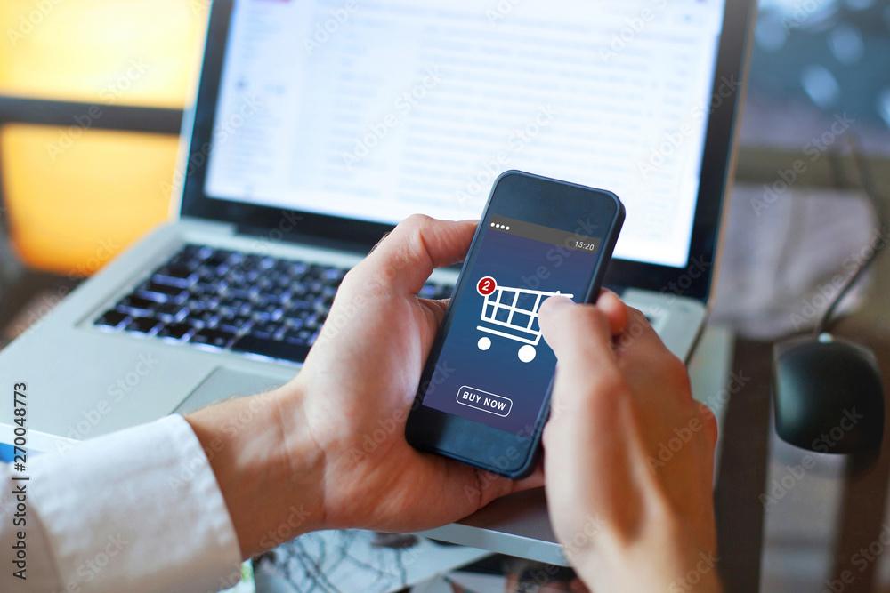 Fototapeta shopping online, buy in online shop by mobile smart phone app