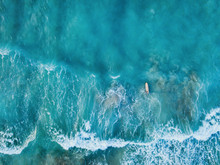Aerial Top Down View Of Surfer...