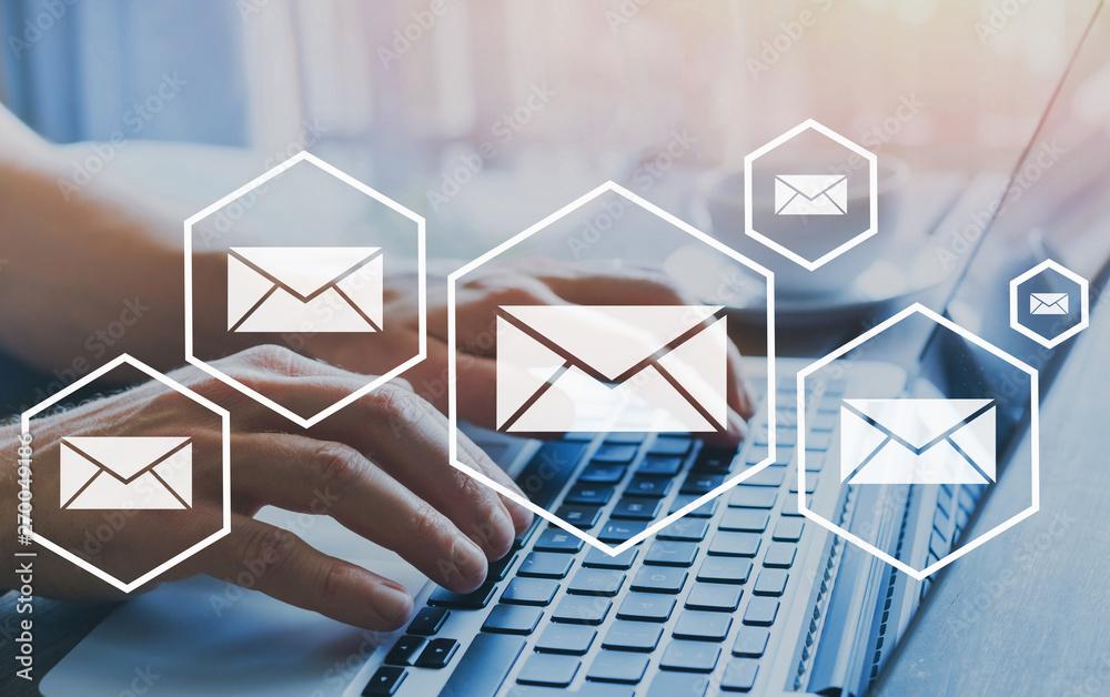 Fototapeta email marketing or newsletter concept, sending e-mails