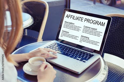 Photo affiliate marketing program concept