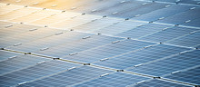 Rows Array Of Solar Panels Or Polycrystalline Silicon Solar Cells In Solar Power Plant Using Sunlight Energy To Generate Electricity. Photovoltaic Modules For Renewable Energy