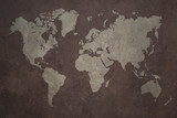 Grunge world map made with a planisphere overlaid with grungy elements, dark seas and light lands version - 270052394