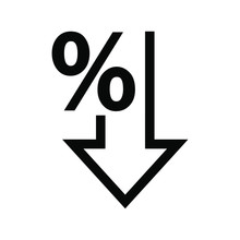 Percent Down Vector Icon. Perc...