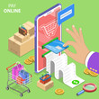 Isometric flat vector concept of pay online, internet payment and shopping, money transfer, mobile wallet.