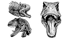 Graphical Set Of Dinosaurs Iso...