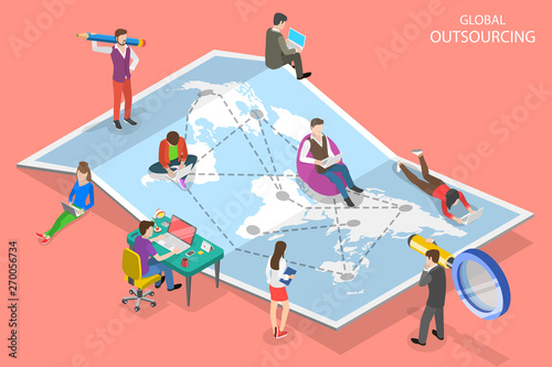 Obraz Isometric flat vector concept of global outsourcing, company remote management, distributed team, freelance job. - fototapety do salonu