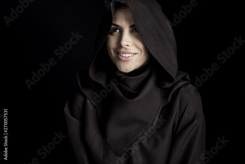 smiling woman in death costume isolated on black Tablou Canvas