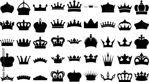 Fotografia, Obraz Illustration vector simple crown icon collection