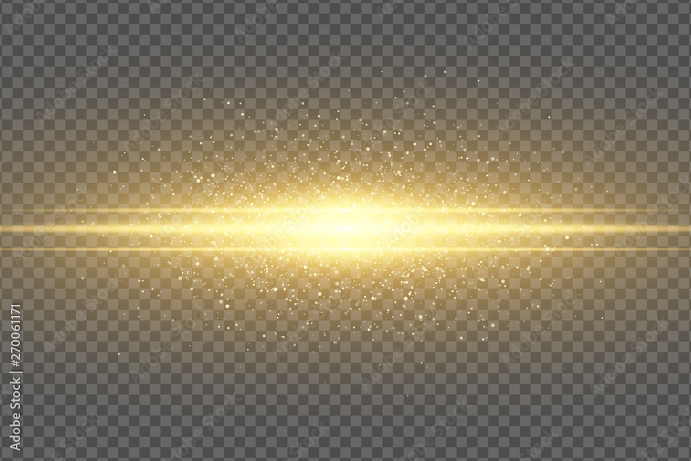 Fototapety, obrazy: Abstract magic stylish light effect on a transparent background. Golden flash. Luminous flying dust. Shimmering particles flying. Vector illustration