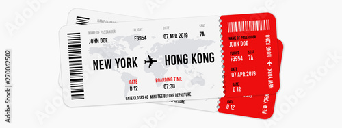 Pinturas sobre lienzo  Realistic airline tickets design with passenger name