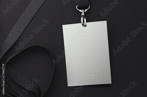 Photo White badge on black lanyard. 3d rendering