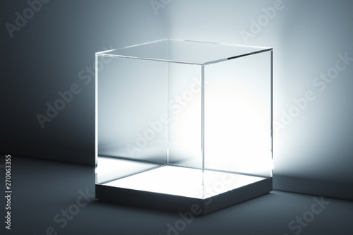 Cuadros en Lienzo Modern Showcase with glass and empty space on white background