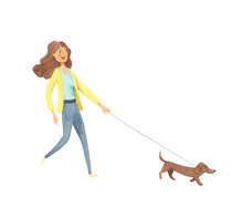 Watercolor Beautiful Lady With Dog. Hand Drawn Walking Woman And Dachshund. Painting Fashion Isolated Illustration