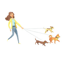 Cheerful Woman Walking With Three Dogs. Girl With Dogs. Watercolor Isolated Illustration