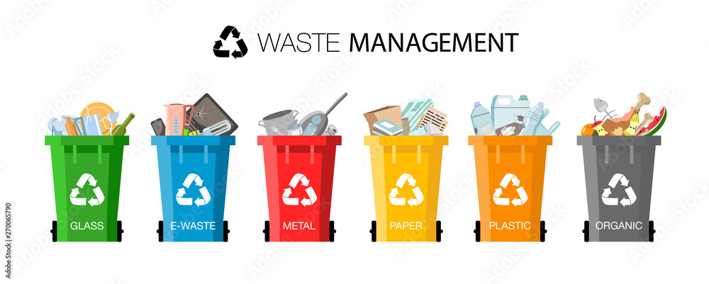 Fototapety, obrazy: Plastic containers for garbage of different types. Waste management concept. Different types of Waste: Organic, Plastic, Metal, Paper, Glass, E-waste. Separation of waste on garbage cans for recycling