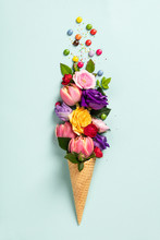 Ice Cream Cone With Flowers And Sprinkles Summer Minimal Concept.