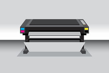 Dark Color Medium High Size Of Wide Format Inkjet Printer Or Plotter In Vector. Details With Controller Buttons And Cartridge Of CMYK Ink.