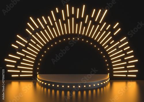 Fotografia Stage podium scene for Award celebration on black background, Stage podium with lighting, 3D render