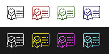 Set Certificate Template Line Icon Isolated On Black And White Background. Achievement, Award, Degree, Grant, Diploma Concepts. Business Success Certificate. Vector Illustration
