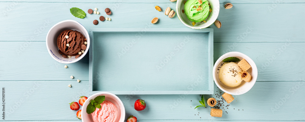 Fototapety, obrazy: Flat lay, overhead shoot of homemade assorted ice cream on light blue wooden background. Healthy summer food concept. Top view, copy space, banner.