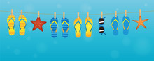 Colorful Flip Flops Sunglasses Nd Starfish Hanging On A Rope On Turquoise Background Summer Holiday Design Vector Illustration EPS10