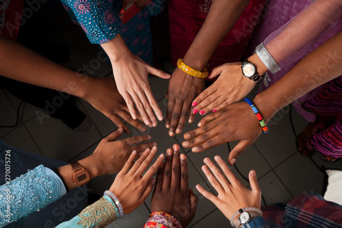 Fotografie, Obraz  Hands of happy group of African people which stay together in circle