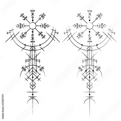 Black abstract viking magic symbols isolated on white background Wallpaper Mural