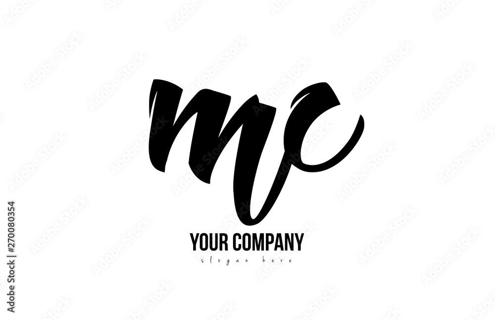 Fototapeta black and white mc m c alphabet letter combination logo icon design
