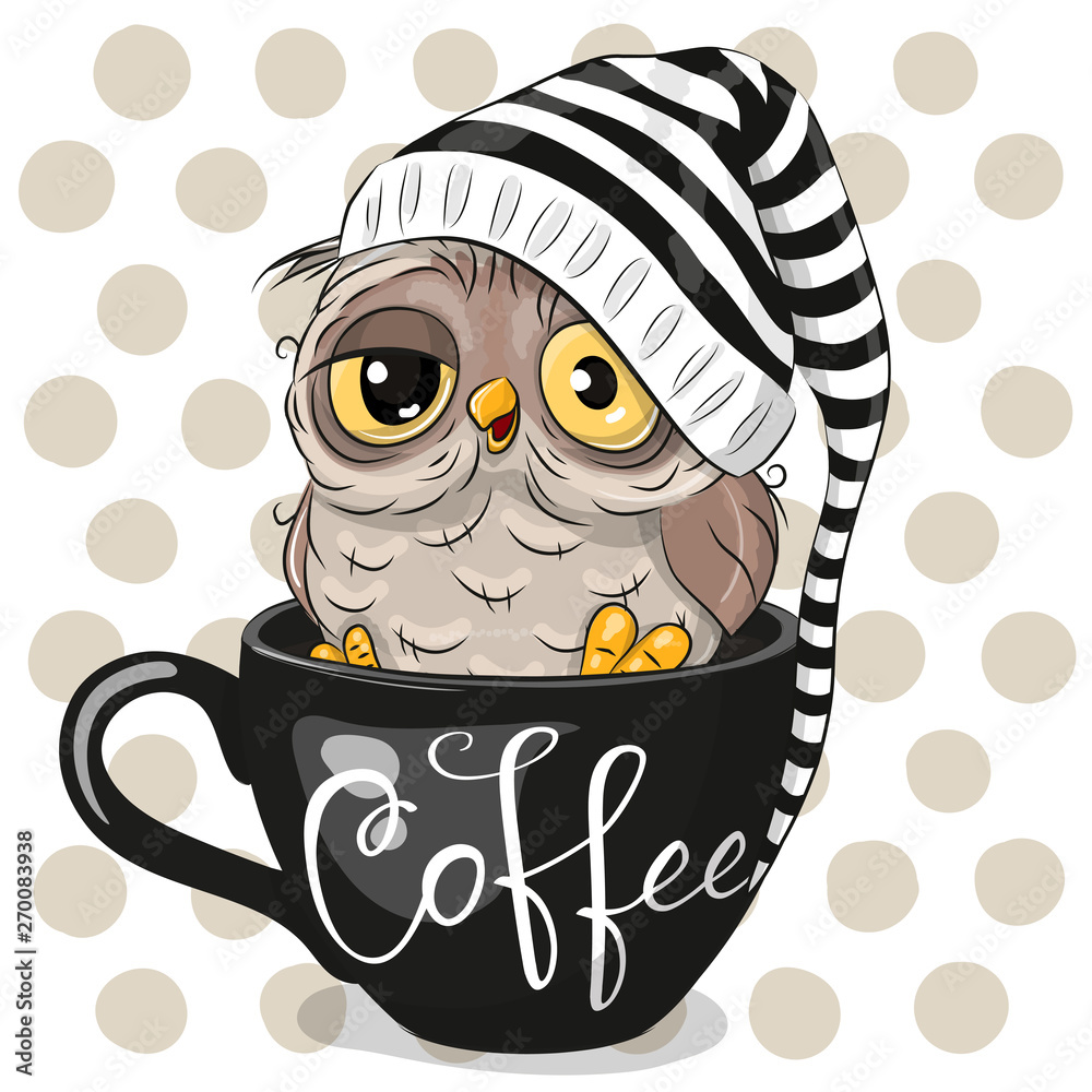 Kreskówka sowa siedzi w filiżance kawy <span>plik: #270083938 | autor: reginast777</span>