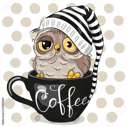 Cartoon owl is sitting in a Cup of coffee Fotomurales