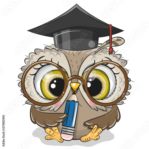 Aluminium Prints Owls cartoon Clever owl with pencil and in graduation cap