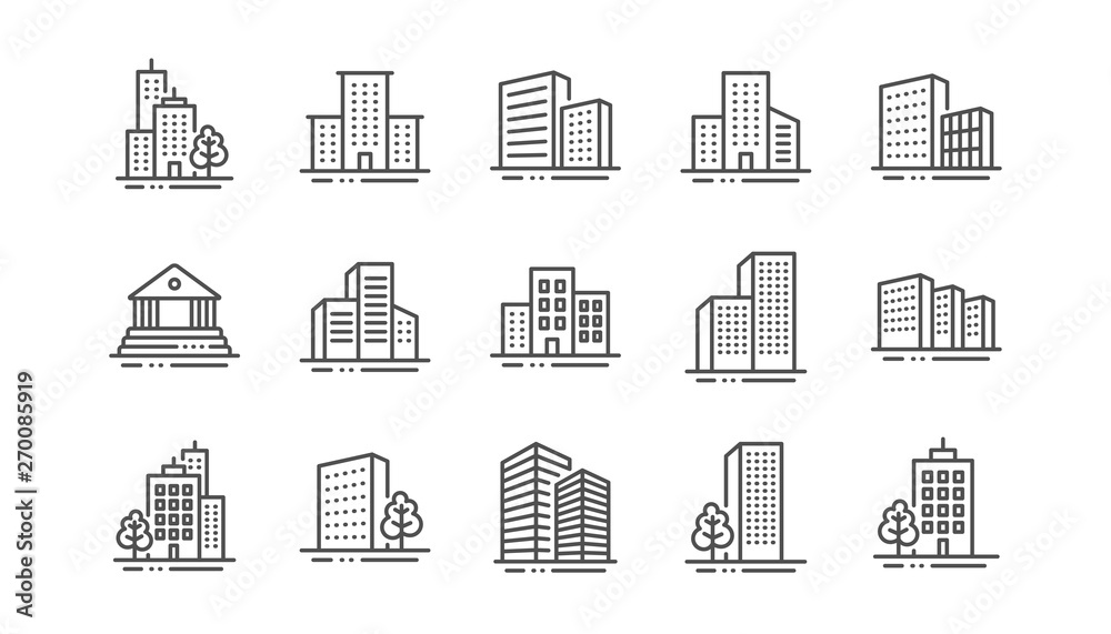 Fototapeta Buildings line icons. Bank, Hotel, Courthouse. City, Real estate, Architecture buildings icons. Hospital, town house, museum. Urban architecture, city skyscraper. Linear set. Vector