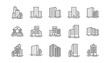 Buildings line icons. Bank, Hotel, Courthouse. City, Real estate, Architecture buildings icons. Hospital, town house, museum. Urban architecture, city skyscraper. Linear set. Vector