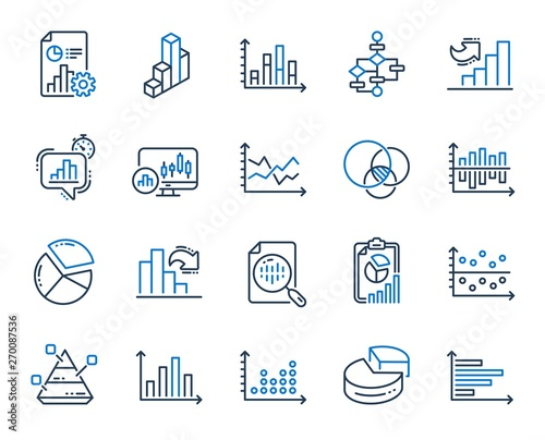 Cuadros en Lienzo Charts and Diagrams line icons