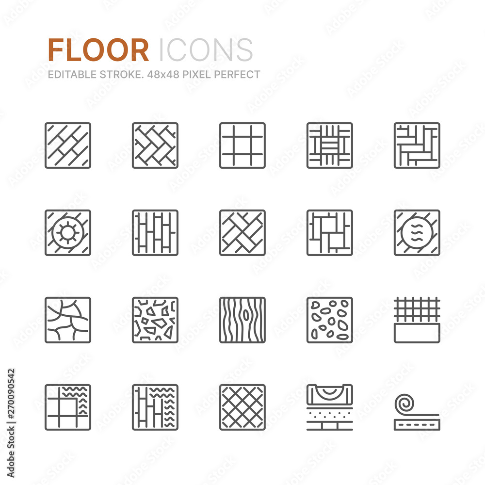 Fototapeta Collection of floor related line icons. 48x48 Pixel Perfect. Editable stroke