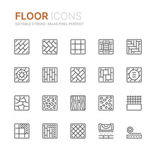 Collection Of Floor Related Line Icons. 48x48 Pixel Perfect. Editable Stroke