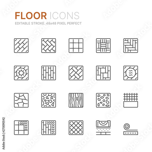 Collection of floor related line icons Fototapeta