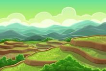 Rice Fields Plantation, Mountain Cascade Landscape