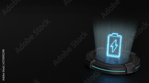 Fotomural  3d hologram vertical symbol of charging empty battery icon render