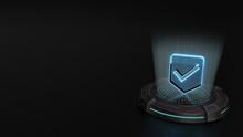 3d Hologram Symbol Of Been Here Marker Icon Render