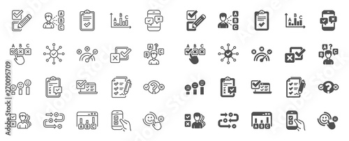 Survey, Report review line icons  Opinion, Customer satisfaction