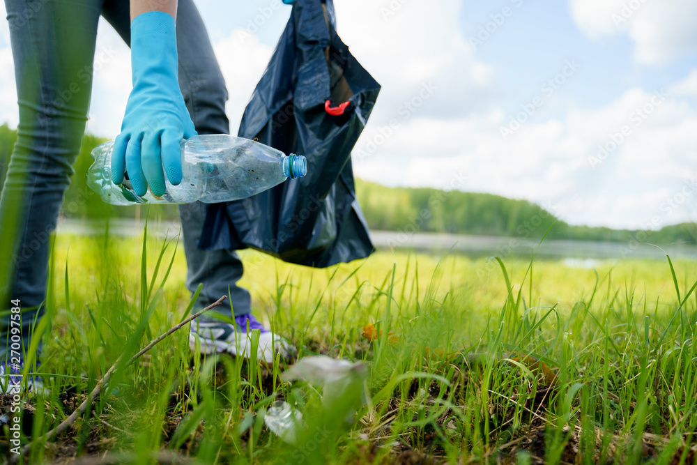 Fototapeta Photo of side of girl in rubber gloves picking up garbage in bag on banks of river.