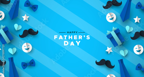Fotografía Fathers Day greeting card of blue dad paper icons