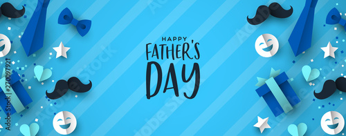 Obraz Fathers Day banner of paper icons for dad holiday - fototapety do salonu