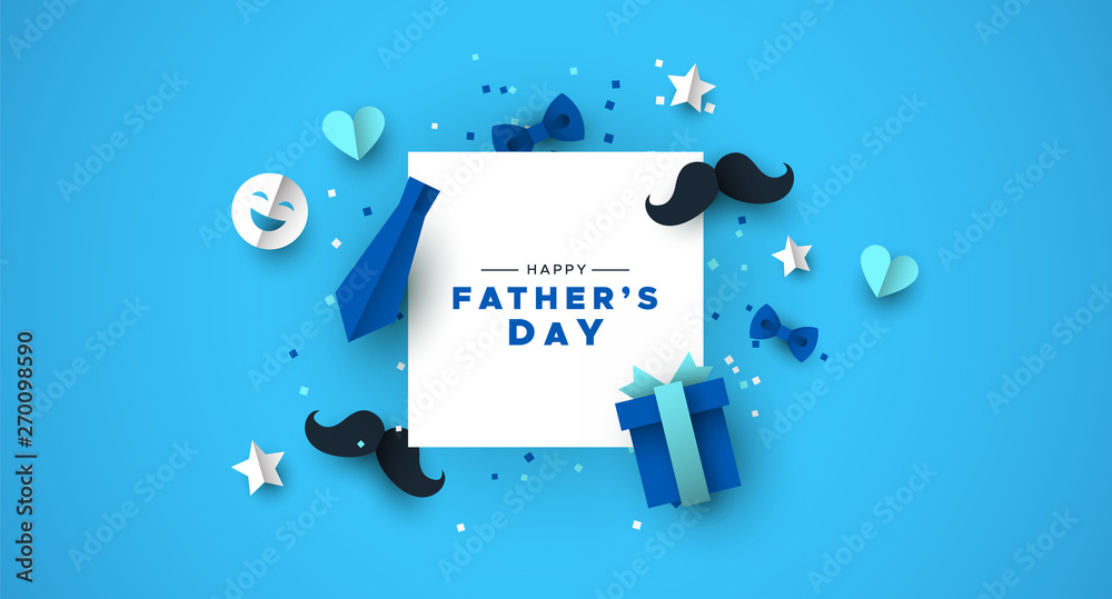 Fototapety, obrazy: Fathers Day card of frame with paper holiday icons