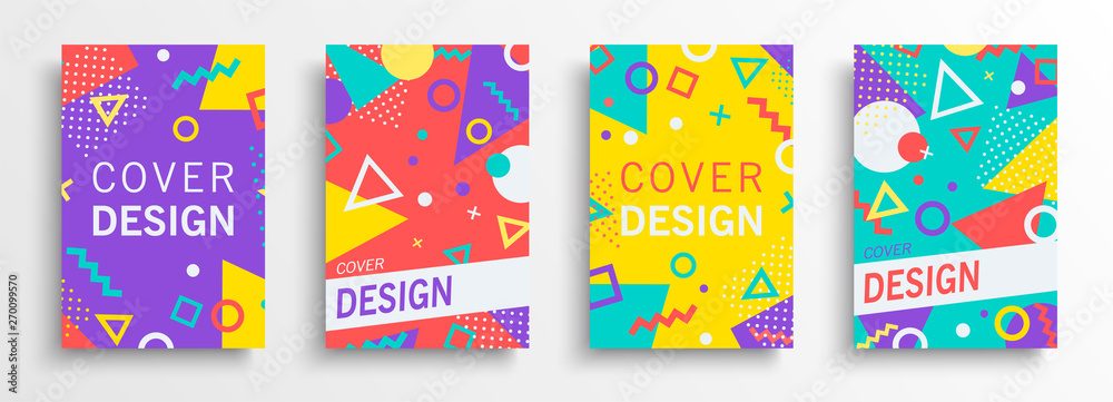 Fototapeta Retro abstract background design set in 80s style