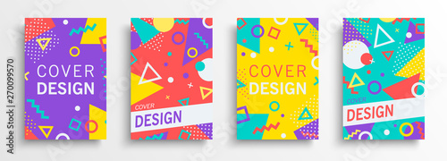 Fotografia  Retro abstract background design set in 80s style