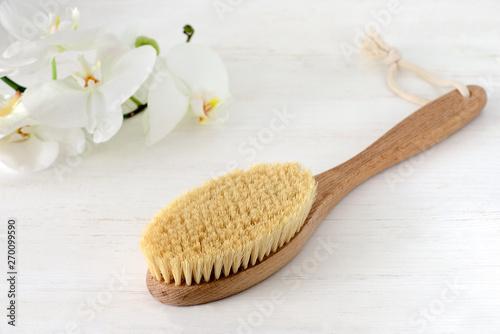 Fototapeta Wooden brush for dry brushing massage