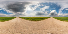Full Seamless Spherical Hdri Panorama 360 Degrees Angle View On Gravel Road Among Fields In Summer Day With Awesome Clouds Before Storm In Equirectangular Projection, For VR AR Virtual Reality Content