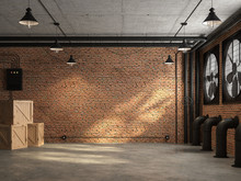 Loft Space Empty Room 3d Render,There Are Orange Brick Wall. With Concrete Floor And Ceiling The Wall Has A Large Black Ventilation Fan. At The Ceiling, There Are Plumbing Pipes And Wires
